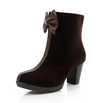 2013 sweet boots bow spring and autumn thick heel round toe high-heeled boots velvet nubuck leather martin boots