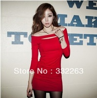 Free shipping 2013 new Autumn Korean Women collar strapless tight sexy package hip nightclub dress wholesale autumn bottoming