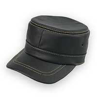 2013 autumn and winter cowhide genuine leather hat male Women casual leather hat cap cadet military cap hat