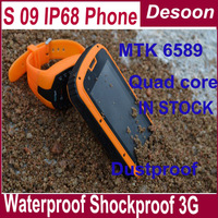 2013-12-09in stock S09 IP68 android smart phone Waterproof Dustproof Shockproof mtk6589quad core 1GB+4G ROM freeshipping /vicky