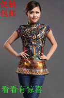 Fashion cheongsam top vintage female short-sleeve tang suit short qipao dress