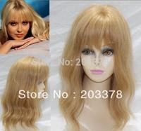 Capless Medium length 100% Human Hair Lovely wavy Curly Hair Wig Free shipping