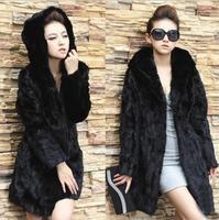faux fur wool cloak outerwear women winter warm shawel black[T8002]
