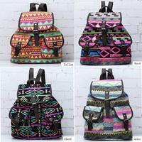 Retro Totem Bunch Floral Flower Print Rucksack Backpack School Bag Bookbags