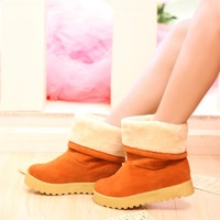 2013 round toe nubuck leather boots platform snow boots flat heel winter flat boots women's shoes platform