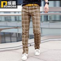 free shipping Autumn slim easy care the trend of fashion trousers khaki plaid harem pants male