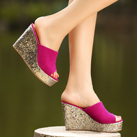 2013 summer casual female high-heeled slippers nubuck leather paillette platform wedges slippers drag female