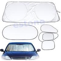 D19+6 Pcs/set Folding Silvering Reflective Insulation Car Window Sun Shade Visor Cover