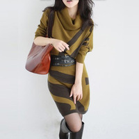 Free Shipping 2013 Autumn Winter Brand women's batwing sleeve slim sweater dress+Belt, long design Plus Size