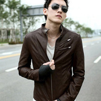 free shipping 2013 outerwear male all-match leather clothing male long-sleeve outerwear casual fashion