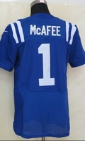 2013 new Men 1 Pat McAfee elite blue white  American football Jersey,Cheap mens Sports Jersey,Embroidery logos,Mix order