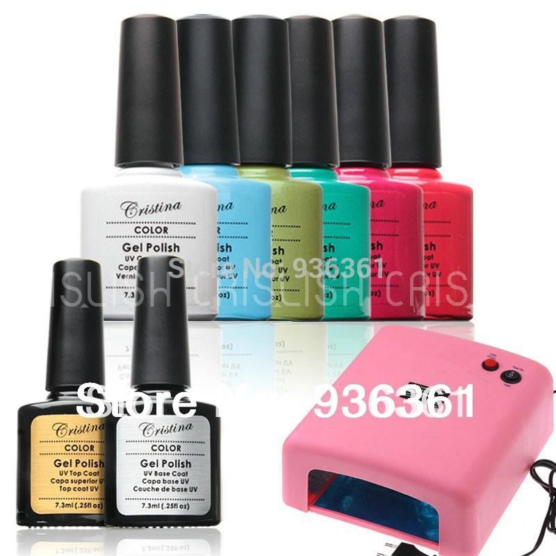 Professional Choose 6 Color +220 V 36 W UV Lamp+TOP COAT+BASE COAT Nails Gel Tool Set Shellac Nail Gel French Manicure styling(China (Mainland))