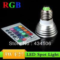 Free Shipping  RGB 3W E27/E14/GU10 AC85~265V LED Bulb Light Spot Light LED Light Lamp with 5years Warranty-imited Time Offer