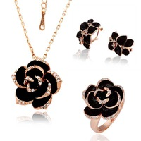 Free Shipping 18K GP Gold Plated Jewelry Set Fashion Nickel Free Tin Alloy Rhinestone Crystal Necklace Earring Ring SMTPS058