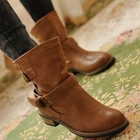 FREE SHIPPING women Boots female spring and autumn fashion women's martin boots flat vintage buckle motorcycle boots