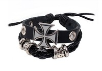 Hot Selling Ancient Rome Personalized Cross Cowhide Men's Bracelet Handmade Braided Adjustable Jewelry Free Shipping RuYiSLQ003