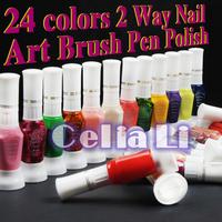 Free Shipping 24 colour 2 way nail art polish with brush & pen varnish 24colour/lot whole sale