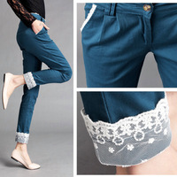 Free Shipping Spring Lace Casual Pants Harem Pants Female Mid Waist Plus Size Long Trousers Woman Pant Fashion Pant Cool Pant