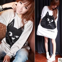 new fashion fall women New arrival 2013 cat o-neck loose t-shirt casual one-piece dress cotton good quality sale free shipping