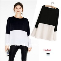 Free shipping Hot sale  Latest New Style Fashion Black White Combined Streak Round Collar Blouse Shirt 2013 wholesale