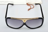 2013 HOT SELLING  MEN'S AND WOMEN'S BLACK/ GOLD SUNGLASSES GLASS SUNGLASS FREE SHIPPING