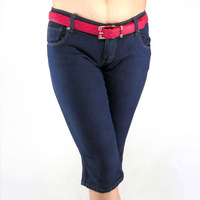 Plus size clothing denim capris slim plus size summer thin