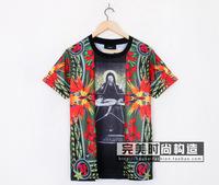 Fashion Men Women 100% Cotton Short Sleeve T-shirt Giv Mary Child Bird of Paradise Print Shirts Tees Black High Quality