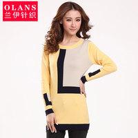Olans 2013 autumn new arrival plaid long-sleeve knitted sweater female slim basic sweater