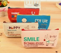 Free Shipping 3pcs/lot New Cartoon Animal Canvas Pencil Bag Case Cosmetic Pouch Makeup Bag Case Hot sale HK-59
