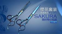 Sakura Blue colour 6 inch Hair salon scissors tools,Stainless steel,17cm,comfortable handle,2 stylest,free shipping via
