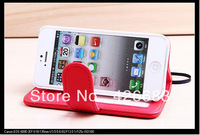 Luxury Wallet Leather case for iphone 5 PU Original New Arrival with Stand + Card Holders Litchi Grain, 7 colors