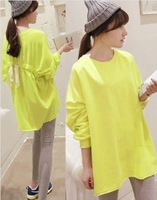 2013  Women's New Arrival Plus Size Round Neck Back Lace Up Design Long Sleeves Loose Coat Yellow LF13080906