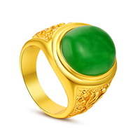 Top quality 14k yellow gold plated placer Malay jade color hot sell fashion  ring