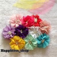Hair accessory 120pcs/lot DIY Cute Chiffon match end center Satin fabric Flower Flat Back For Headbands Hair Bands Xmas Gift