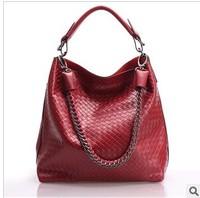 Free shipping Luxury genuine leather handbag Girls / women's all-match classic woven bag Shoulder bag Tote bag