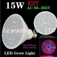 Newest hydroponics lighting 85-265V 15W E27 RED BLUE 170 LEDS Hydroponic LED Plant Grow Lights led bulb LED LIGHT free shipping