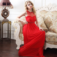Hot! Advanced Dauze High Waist Beading Evening Dress Transparent Beading Fashion Sexy Evening Dress Red Charming Formal Dress