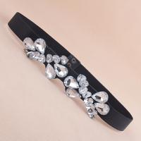 New arrival 525 love rhinestone crystal women's decoration elastic waist band cummerbund all-match female