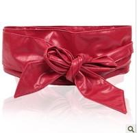 Fashion ultra wide female cummerbund women's all-match faux leather belt abdomen drawing decoration bow belt