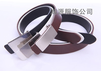 Classic men's PU flat casual smooth buckle belt male belt
