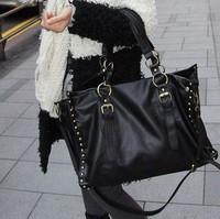2013 women's handbag black fashion casual rivet shoulder bag messenger bag large bag handbag