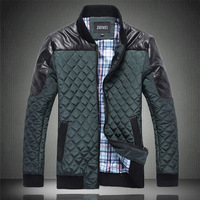 Winter male plaid thermal stand collar outerwear wadded jacket cotton-padded jacket men's clothing plus size plus size