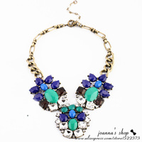 European and USA Big Fashion Classical Charm Inlaid Glass Crystal Flower Women Gift Vintage Necklace High quality Jewelry NK-186