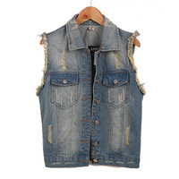 Sleeveless plus size denim vest female spring and summer fashion waistcoat  short outerwear