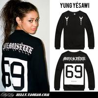 2014 Autumn and Winter Male mens clothing New fashion Yung yesawi 69 mademoiselle digital hba male o-neck sweatshirt