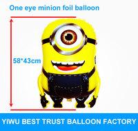 New Despicable Me Minions foil helium balloons cartoon balloon ballon one eye  kids baby birthday girfts free shipping