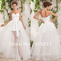 Hot Sale Elegant Sweetheart White Tulle Front Short Long Back Wedding Dress 2014 Bridal Gown With Detachable Skirt Free Shipping
