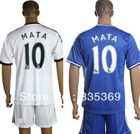 england 2013-2014 Chelsea club Juan Mata #10 mens football soccer jersey+shorts embroidery customize logo home blue white