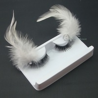 Professional fashion long lips multicolour white feather false eyelashes