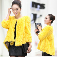 Rabbit fur 2013 fur rex rabbit hair fur coat design fur short puff sleeve cute shirt